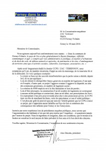 20160318 FDLR à commissaire ZAC